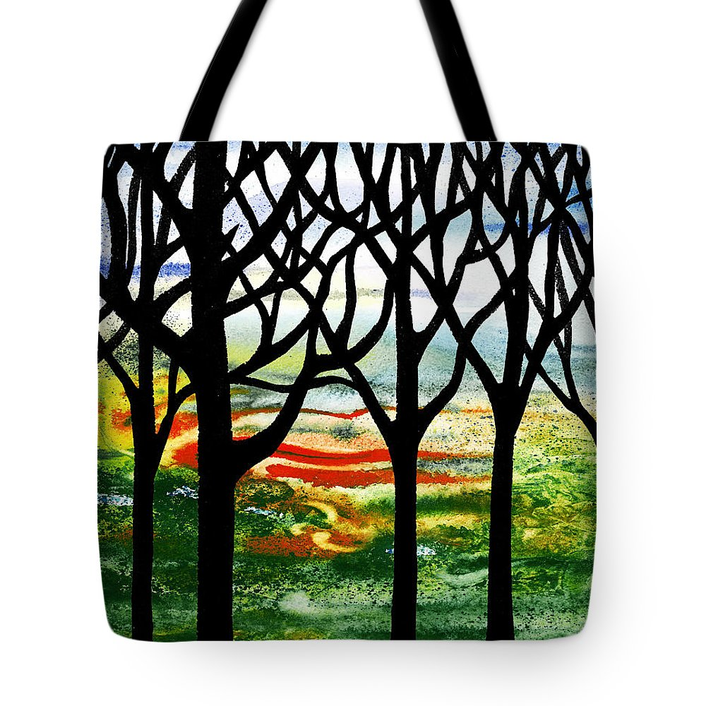 Summer Forest Tote Bag featuring the painting Summer Forest Abstract by Irina Sztukowski