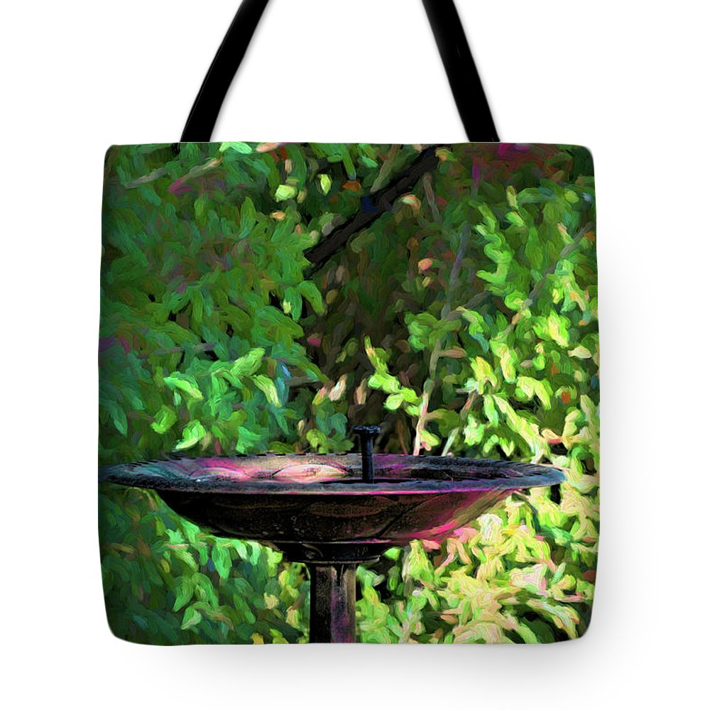 Fountain Tote Bag featuring the digital art Summer Fountain Impasto by Aliceann Carlton