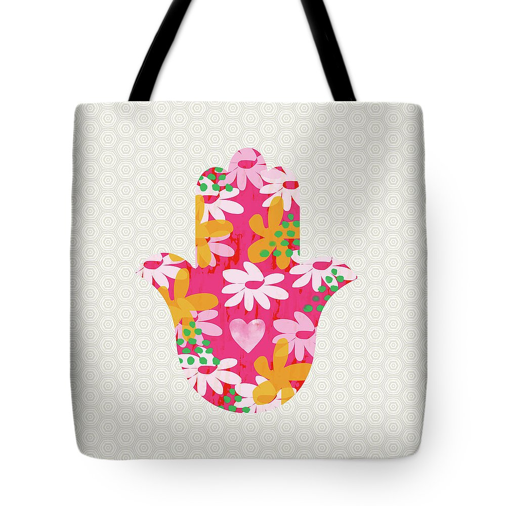 Judaica Tote Bag featuring the mixed media Summer Garden Hamsa- Art By Linda Woods by Linda Woods