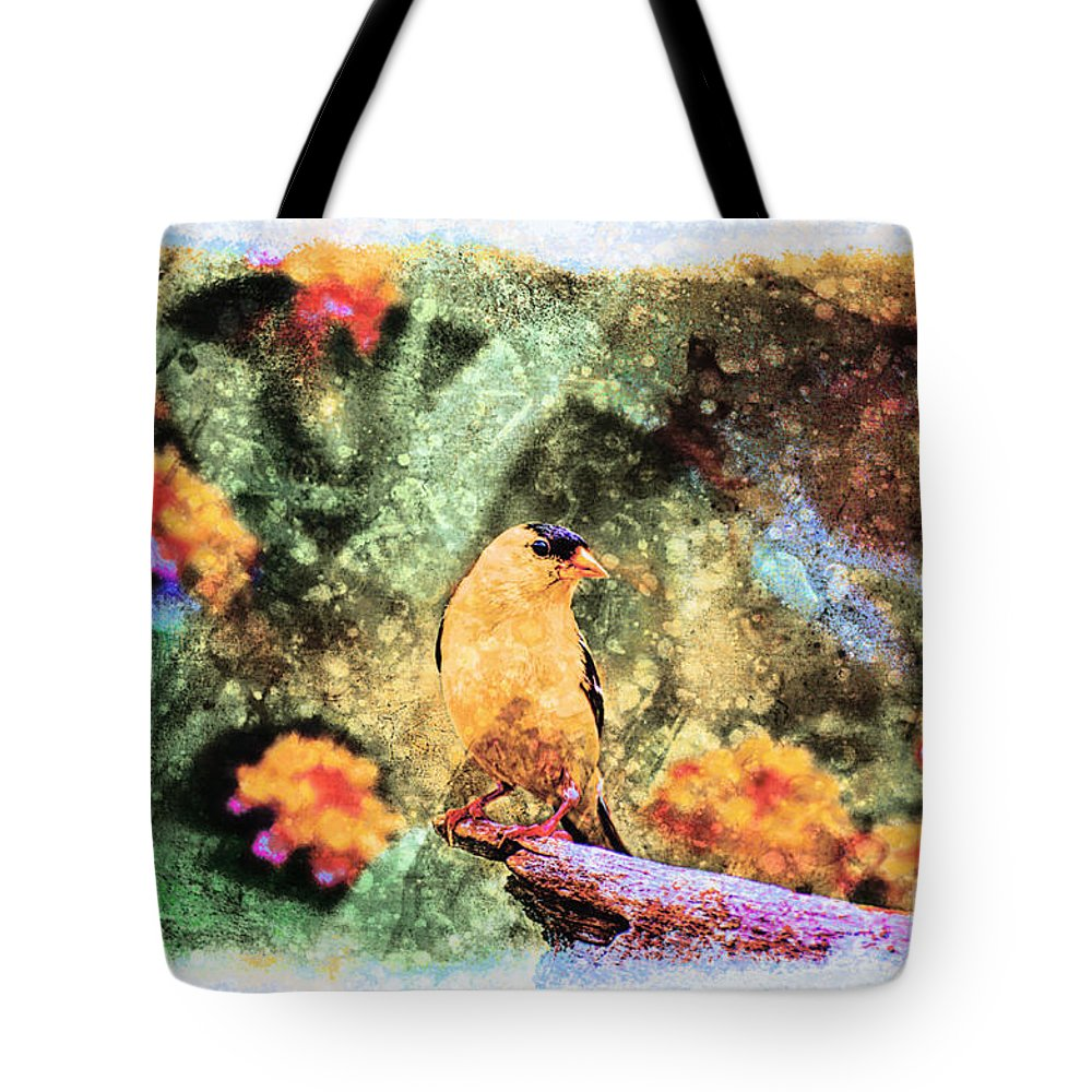 Avian Tote Bag featuring the photograph Summer Goldfinch - Digital Paint 5 by Debbie Portwood