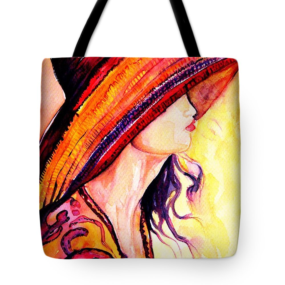 Elegant Lady Tote Bag featuring the painting Summer Hat by Carole Spandau