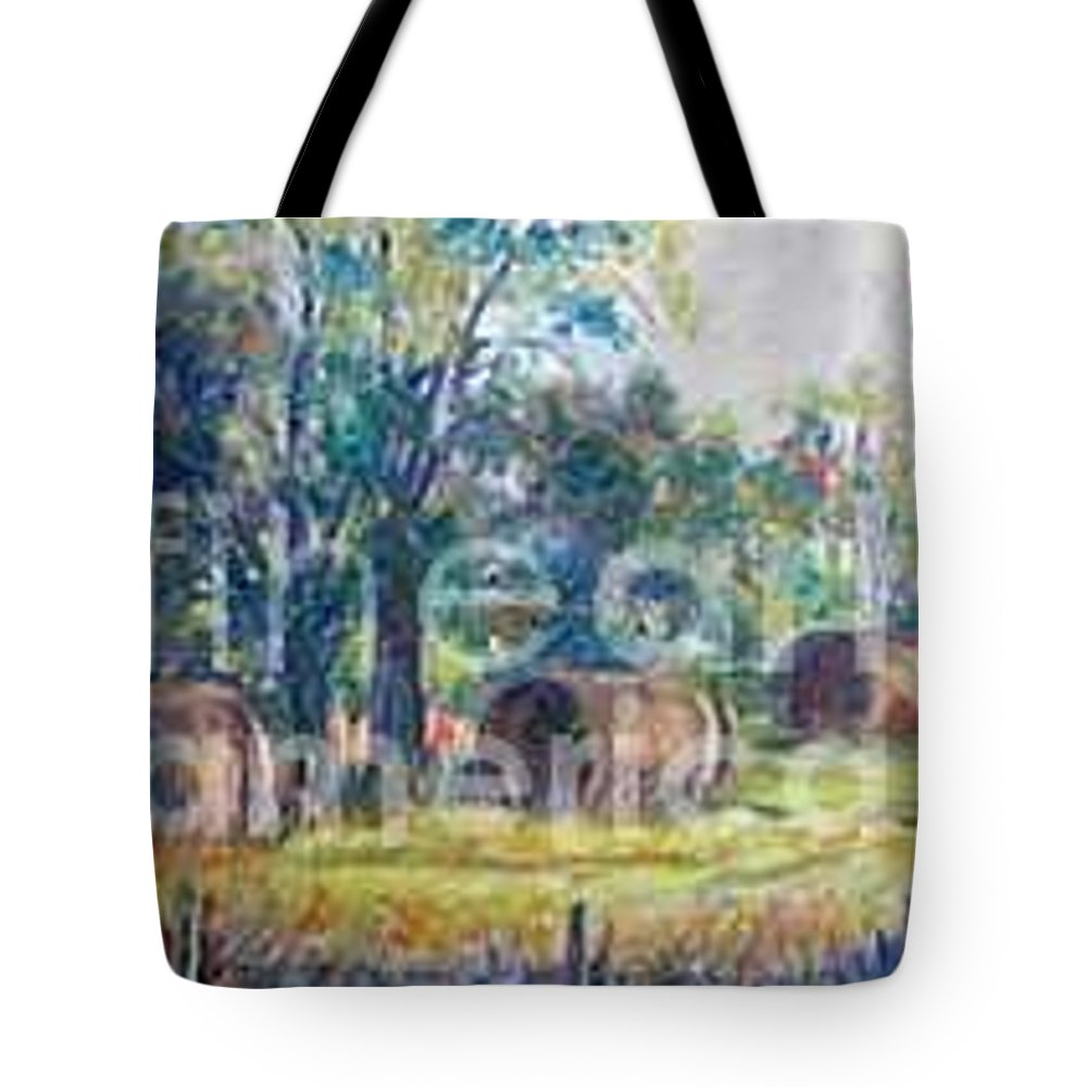 Landscape Tote Bag featuring the painting Summer Idyll by Jan Bennicoff