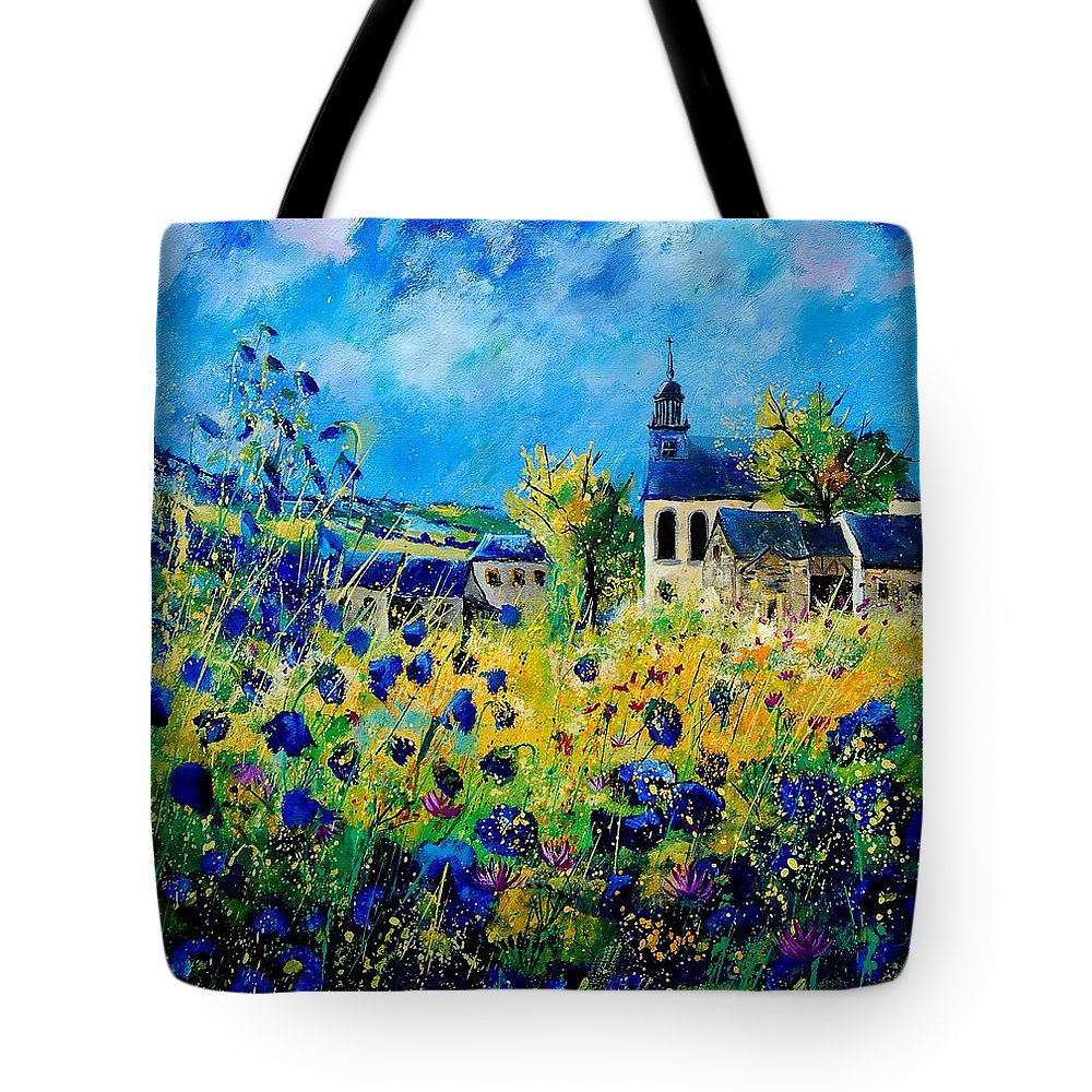 Poppies Tote Bag featuring the painting Summer In Foy Notre Dame by Pol Ledent