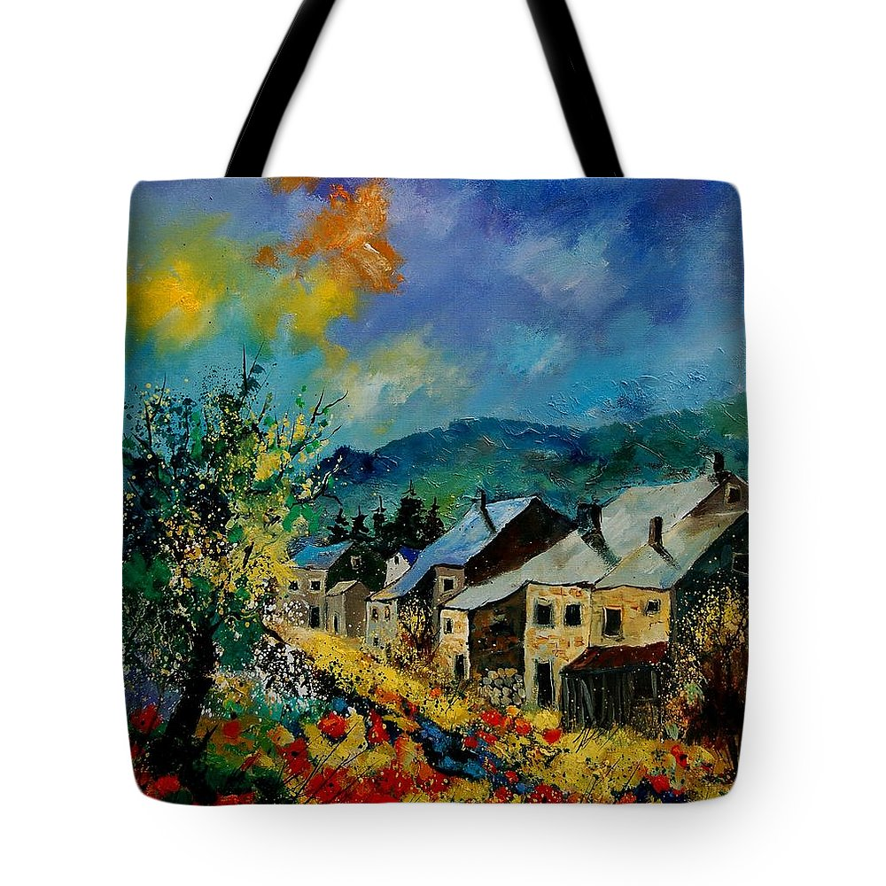 Poppies Tote Bag featuring the painting Summer In Mogimont by Pol Ledent