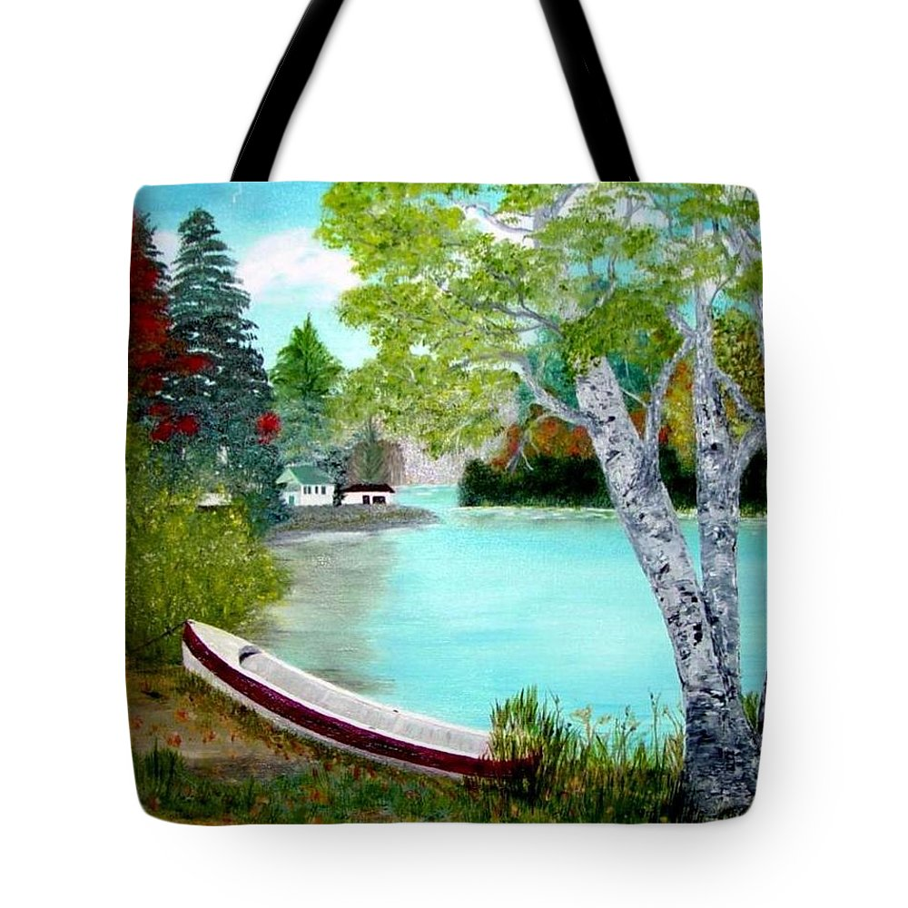 Beautiful Bracebridge Ontario Oil Painting Tote Bag featuring the painting Summer In The Muskoka's by Peggy Holcroft