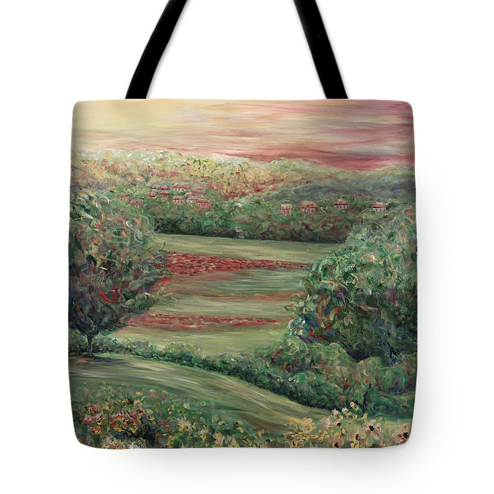 Landscape Tote Bag featuring the painting Summer In Tuscany by Nadine Rippelmeyer