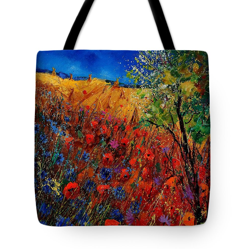 Flowers Tote Bag featuring the painting Summer Landscape With Poppies by Pol Ledent