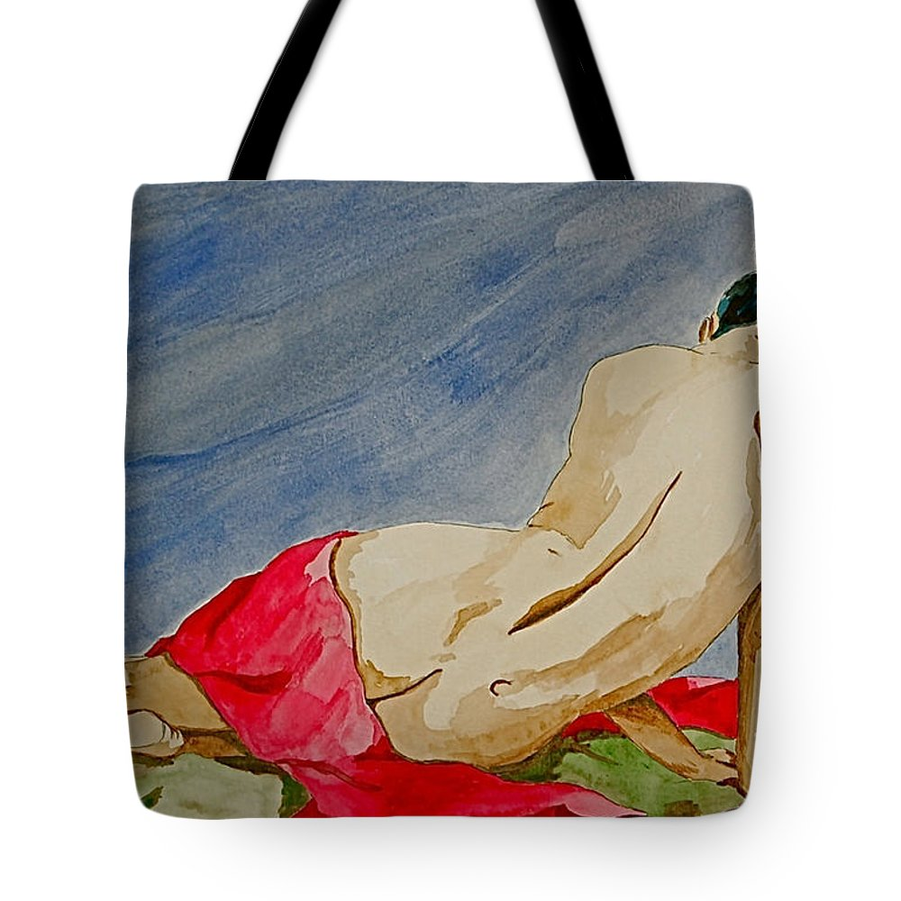 Nudes Red Cloth Tote Bag featuring the painting Summer Morning 2 by Herschel Fall