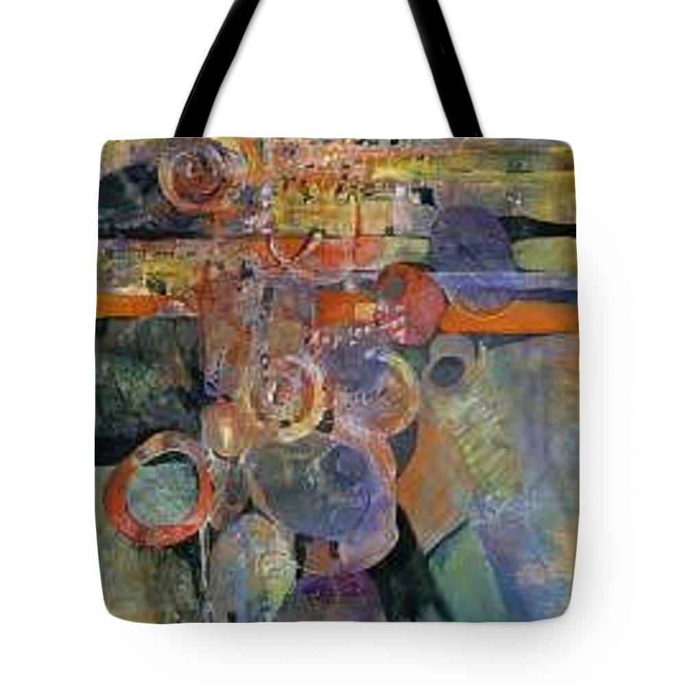 Abstract Shapes Tote Bag featuring the painting Summer Night City Uneartherd by Marlene Gremillion