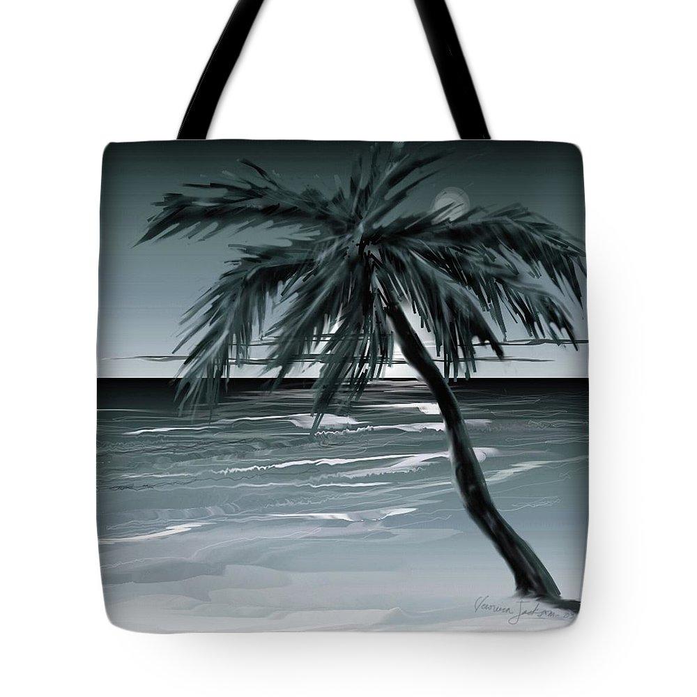 Water Beach Sea Ocean Palm Tree Summer Breeze Moonlight Sky Night Tote Bag featuring the digital art Summer Night In Florida by Veronica Jackson