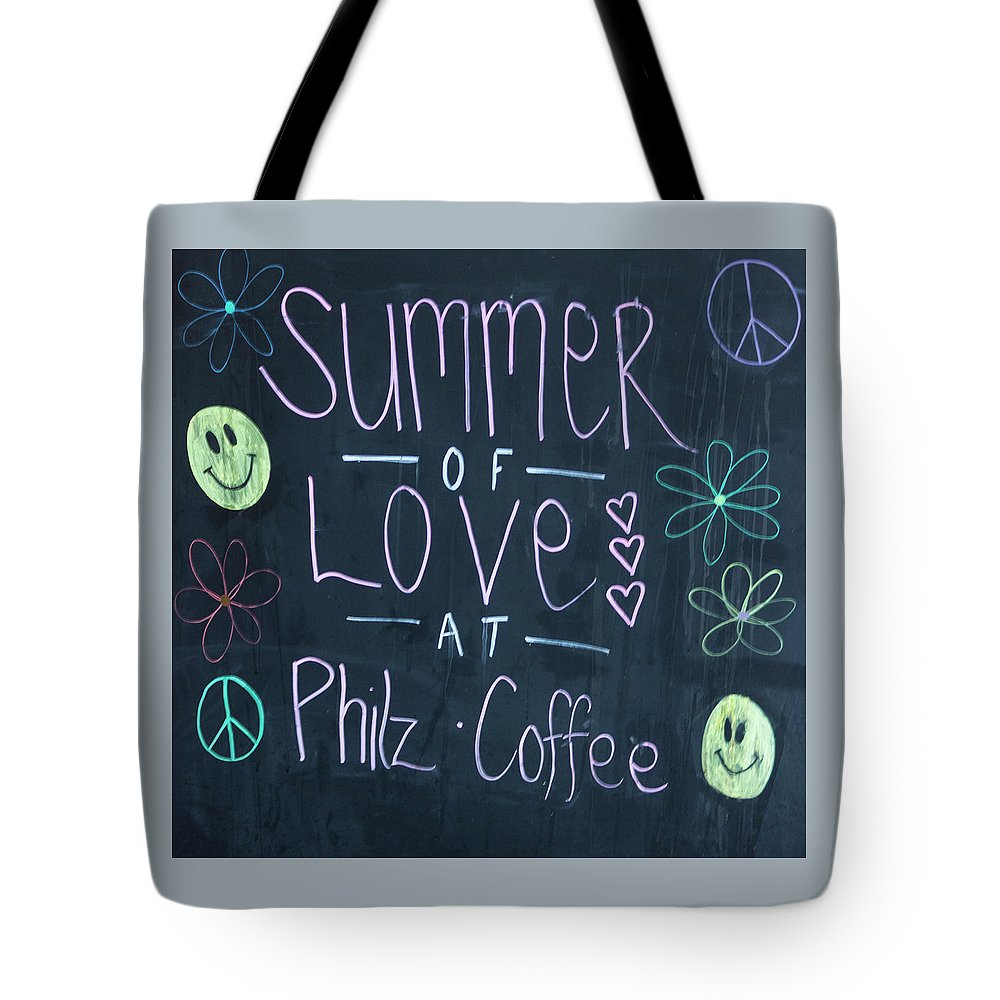 Photograph Tote Bag featuring the photograph Summer Of Love At Philz Coffee by Suzanne Gaff