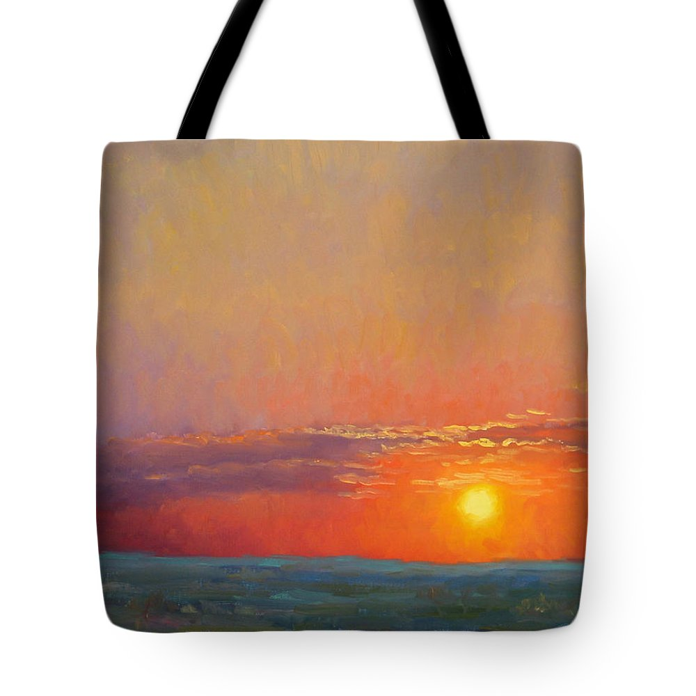 Sunset Tote Bag featuring the painting Summer Of The Red Sky by Bunny Oliver