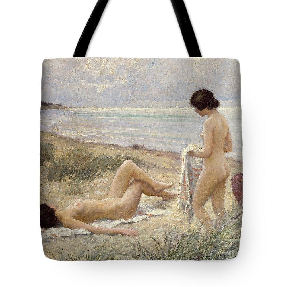 Summer On The Beach (oil On Canvas) By Paul Fischer. Sunbathing; Nude; Naked; Parasol; Beach; Coast; Female; Towel; Lesbian Tote Bag featuring the painting Summer on the Beach by Paul Fischer