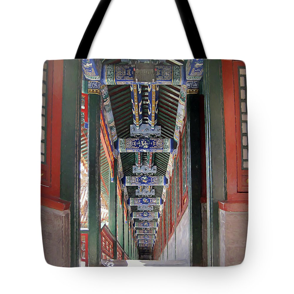 Summer Palace Tote Bag featuring the digital art Summer Palace 2 by Elisabeth Lucas