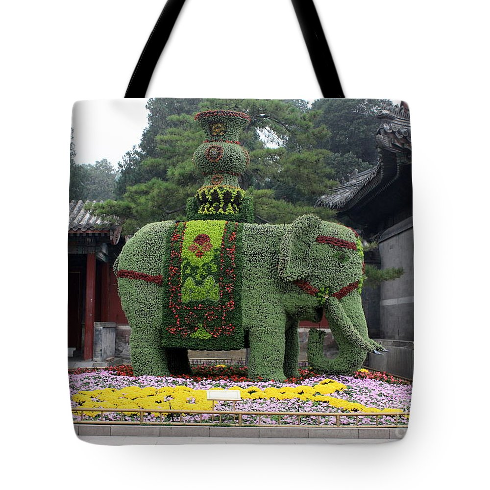 Summer Palace Tote Bag featuring the photograph Summer Palace Elephant by Carol Groenen