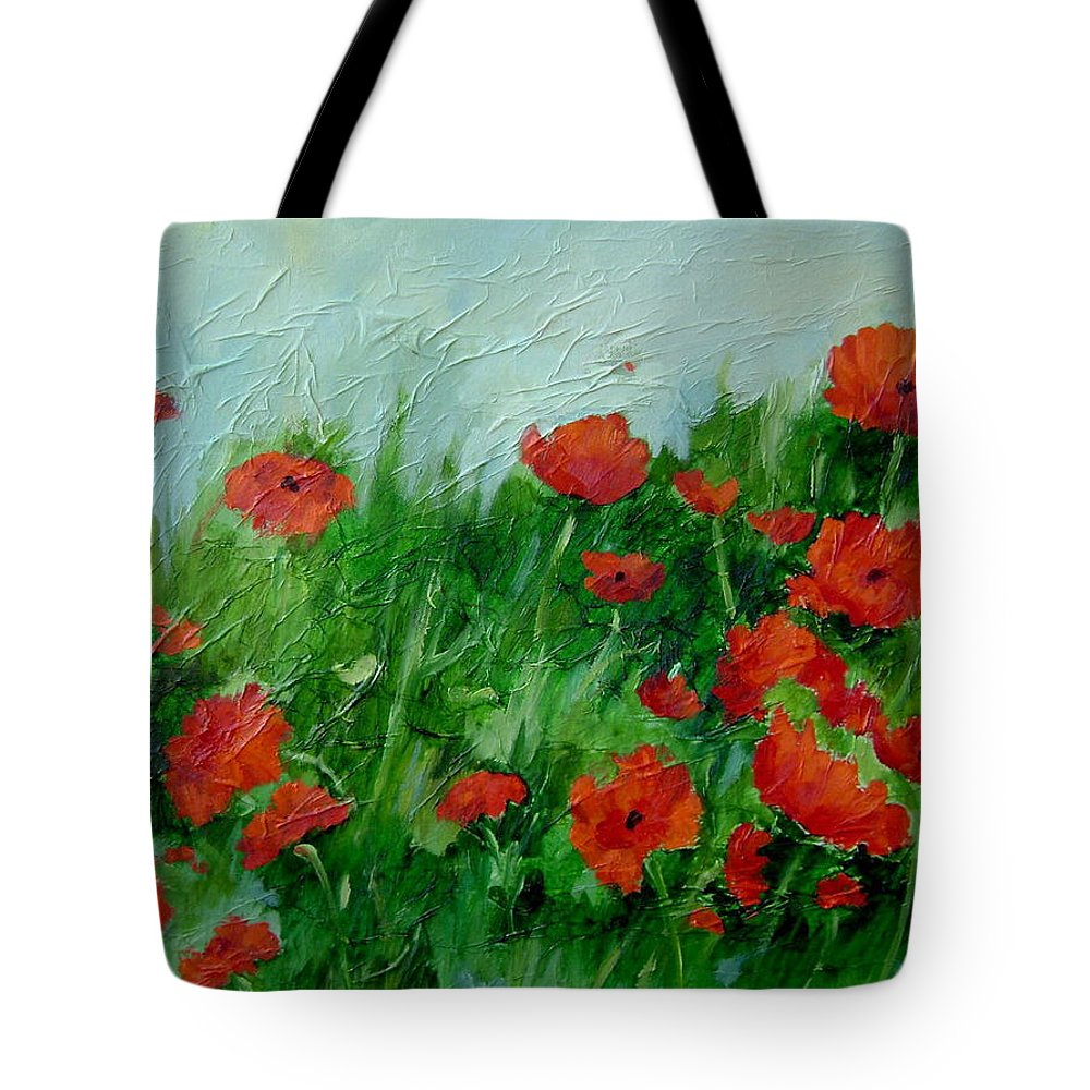 Red Poppies Tote Bag featuring the painting Summer Poppies by Ginger Concepcion