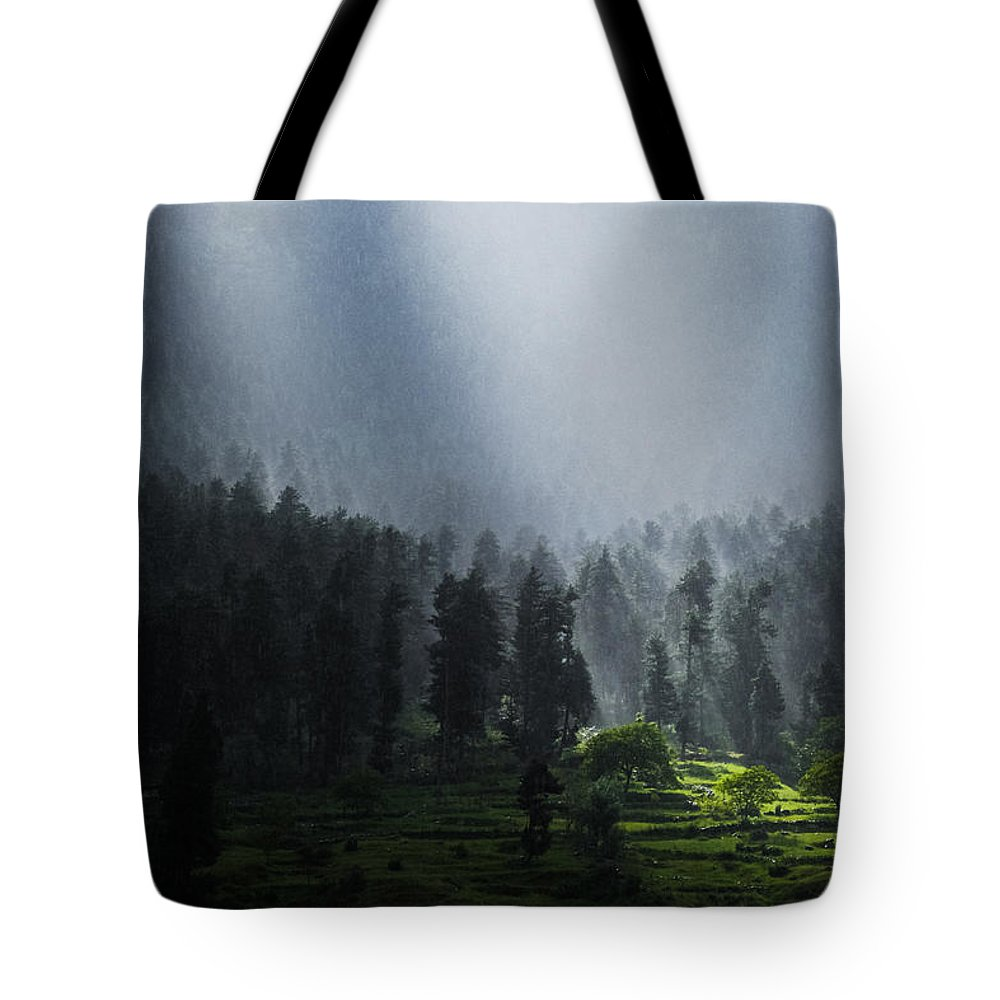 2012 Tote Bag featuring the photograph Summer Rain In The Indian Himalayas Of Kashmir by Quynh Anh Nguyen