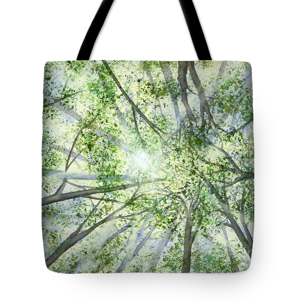 Trees Tote Bag featuring the painting Summer Rays by Lynn Quinn