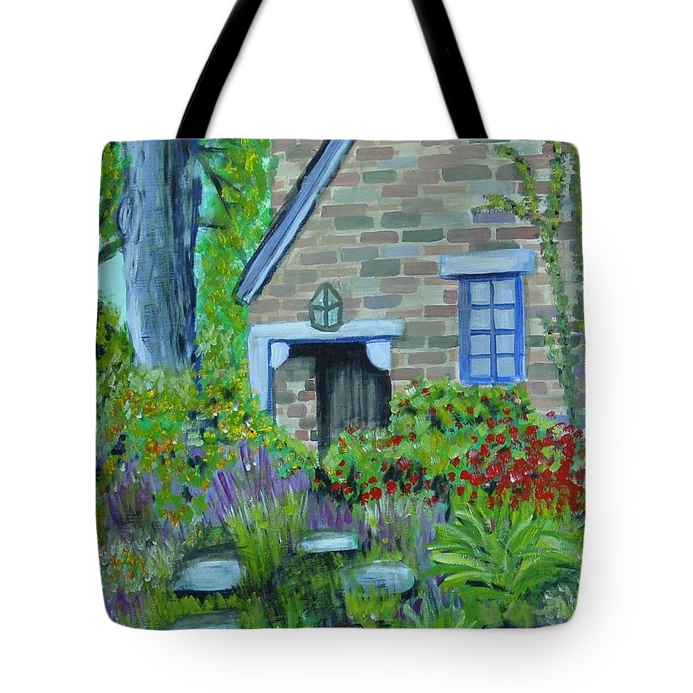 Cottage Tote Bag featuring the painting Summer Retreat by Laurie Morgan