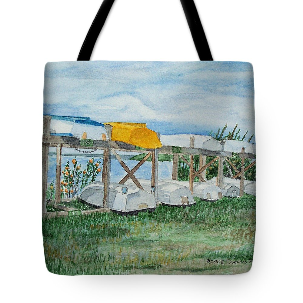 Rowboats Tote Bag featuring the painting Summer Row Boats by Dominic White