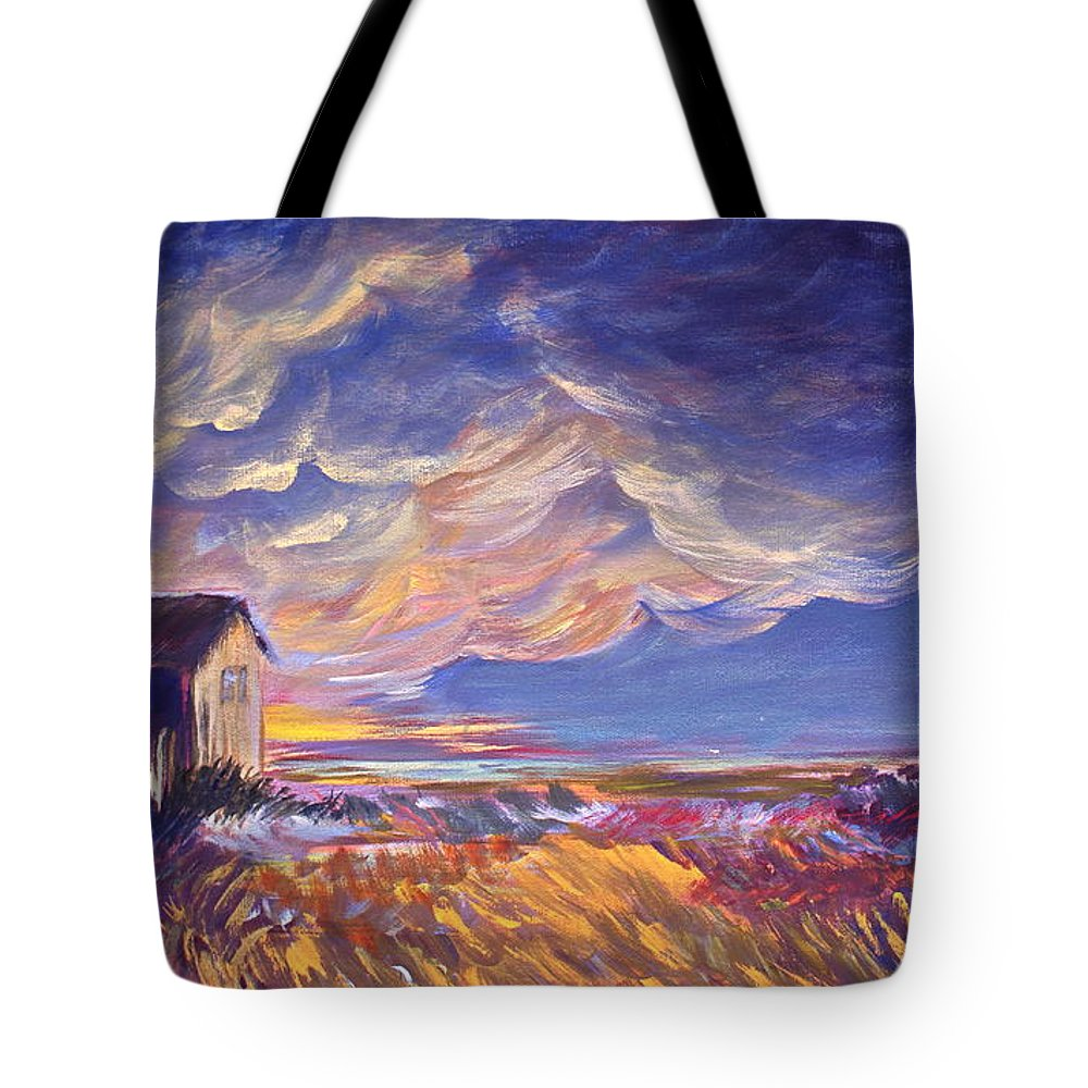 Summer Prairie Storm Tote Bag featuring the painting Summer Storm by Joanne Smoley