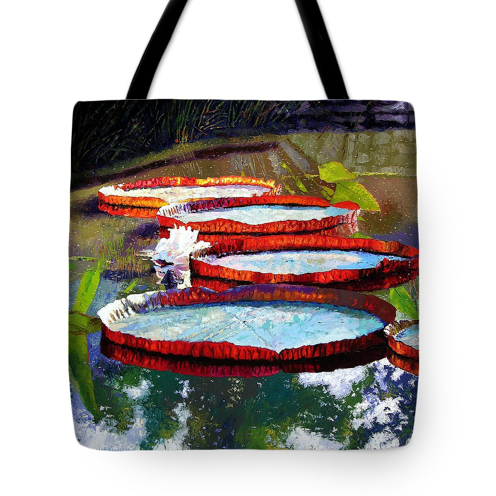 Water Lilies Tote Bag featuring the painting Summer Sunlight On Lily Pads by John Lautermilch
