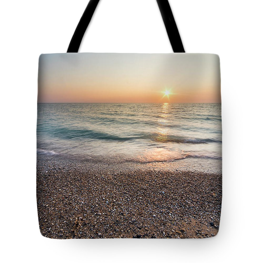 Pierport Tote Bag featuring the photograph Summer Sunset At Pierport by Twenty Two North Photography