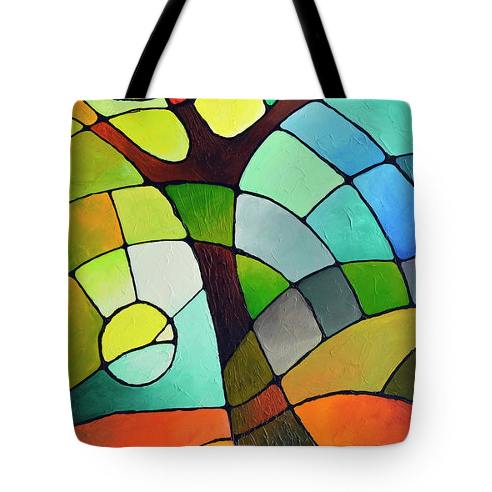 Geometric Tote Bag featuring the painting Summer Tree by Sally Trace