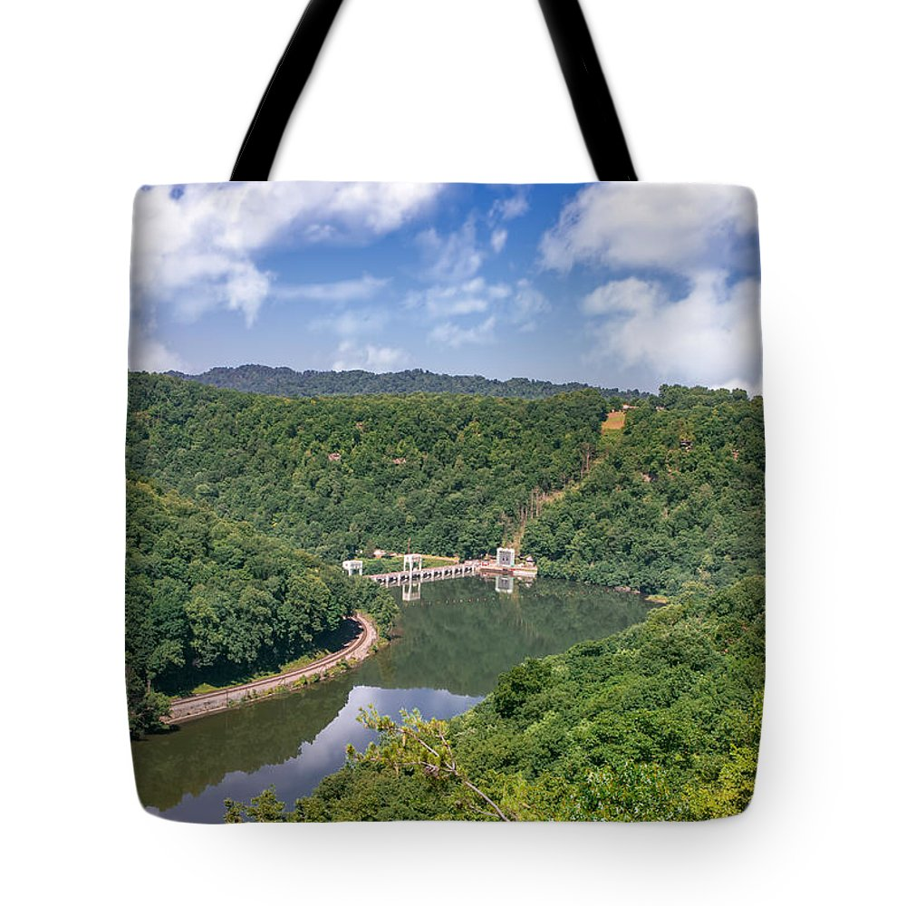 Hawks Nest State Park; West Virginia State Park; New River National River; New River Gorge; Wv; Summer; Blue Skies; Reflections; Hawks Nest Dam; Green Mountains; Hn158 Tote Bag featuring the photograph Summer View At Lovers Leap by Mary Almond