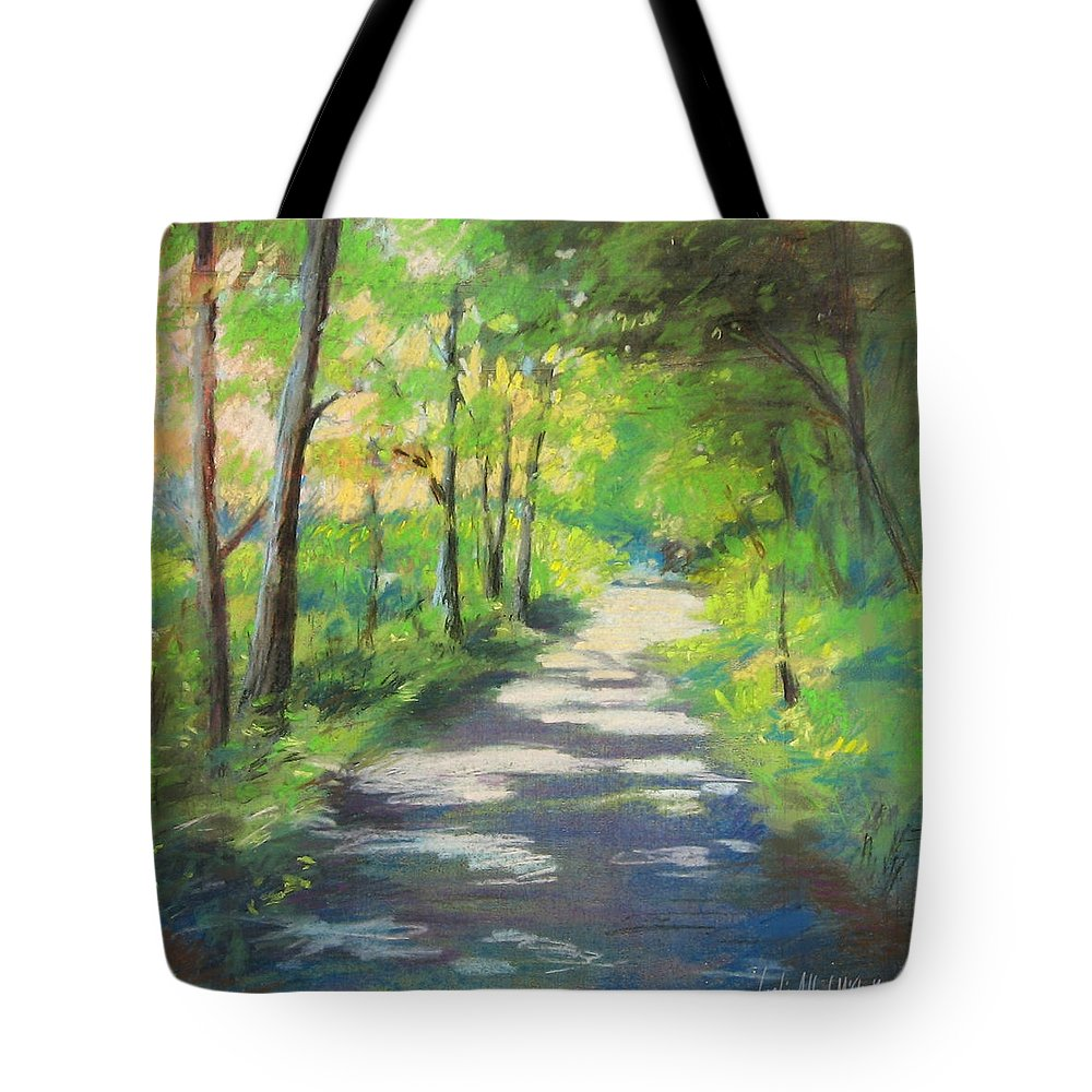 Alfred Tote Bag featuring the painting summer woods at Kenoza Lake by Leslie Alfred McGrath