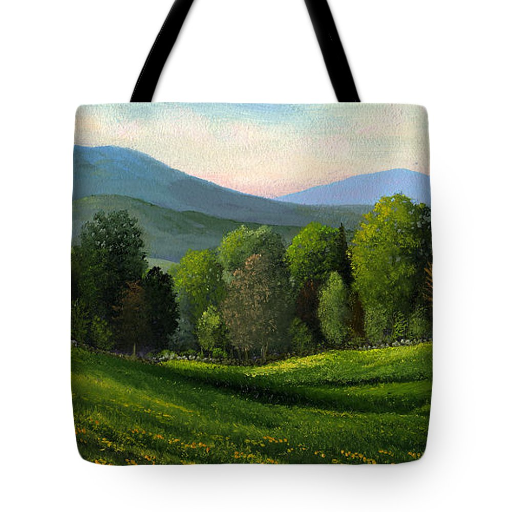 Landscape Tote Bag featuring the painting Summers Ending by Frank Wilson