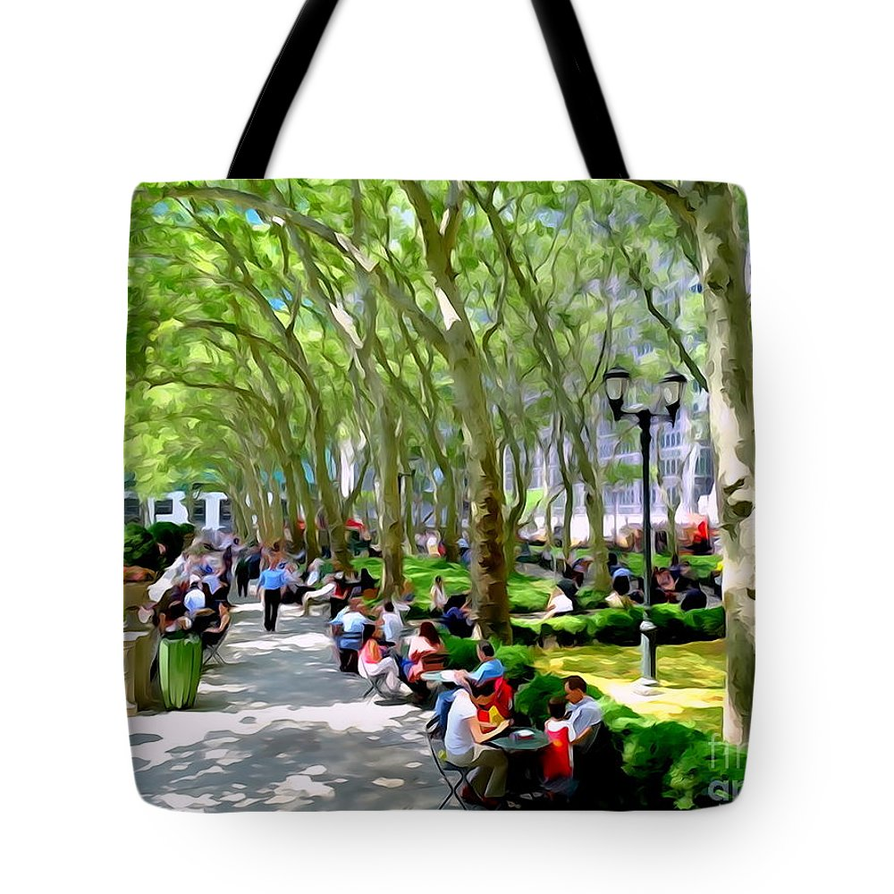 Digital Tote Bag featuring the photograph Summertime In Bryant Park by Ed Weidman