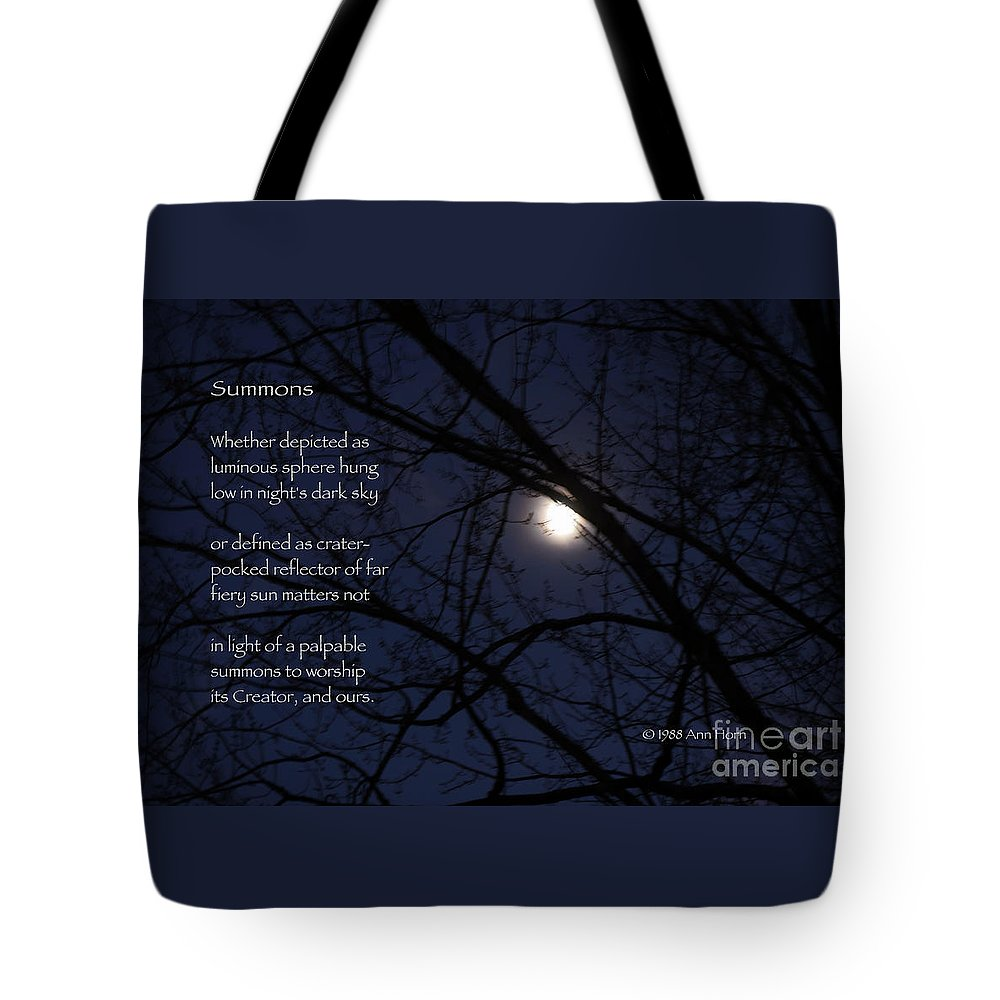 Moon Tote Bag featuring the photograph Summons by Ann Horn