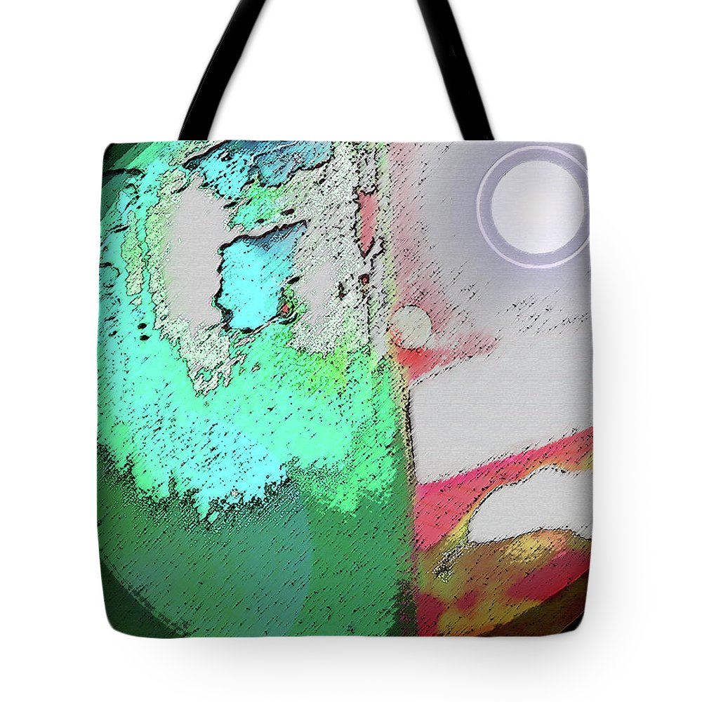 Abstract Tote Bag featuring the digital art Sun - Moon - Earth by Lenore Senior