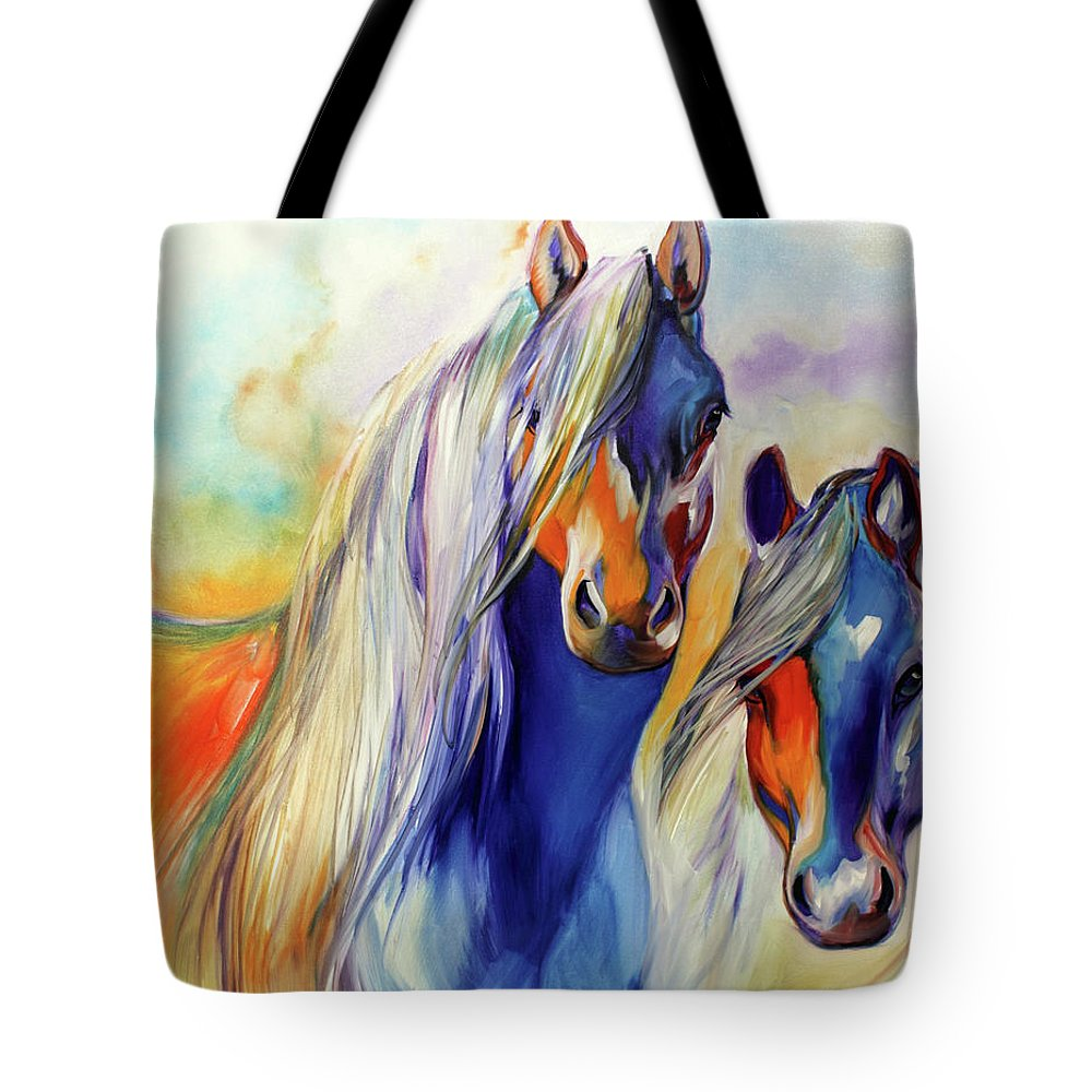 Marcia Tote Bag featuring the painting SUN and SHADOW EQUINE ABSTRACT by Marcia Baldwin