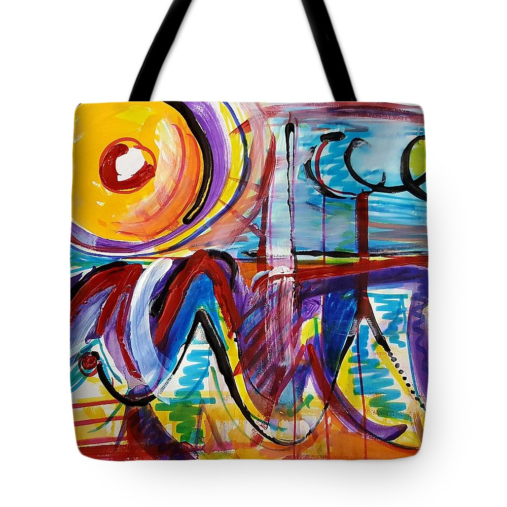 Acrylic Painting Tote Bag featuring the mixed media Sun And Waves by Jane Renzi