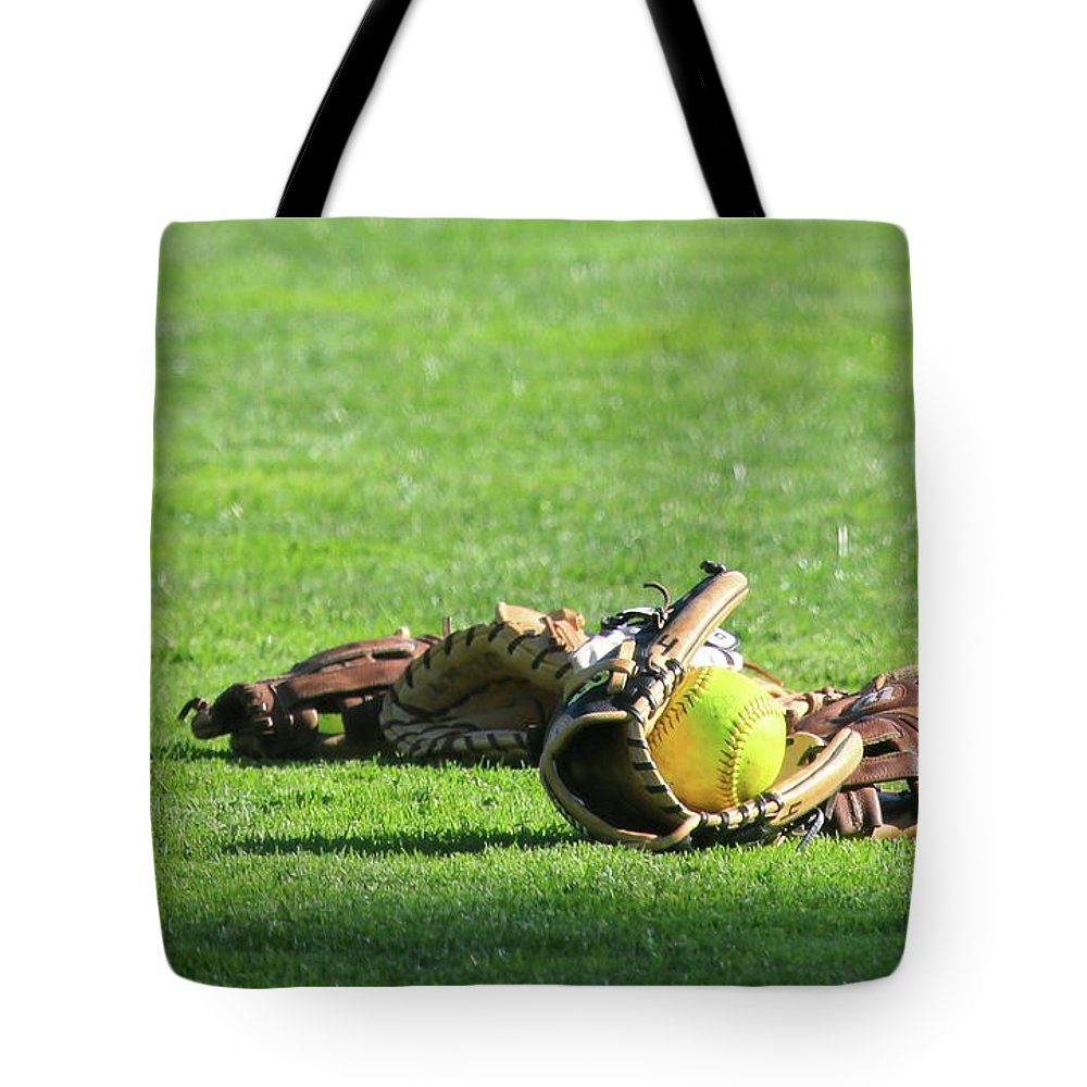 Softball Tote Bag featuring the photograph Sun Bathing by Laddie Halupa