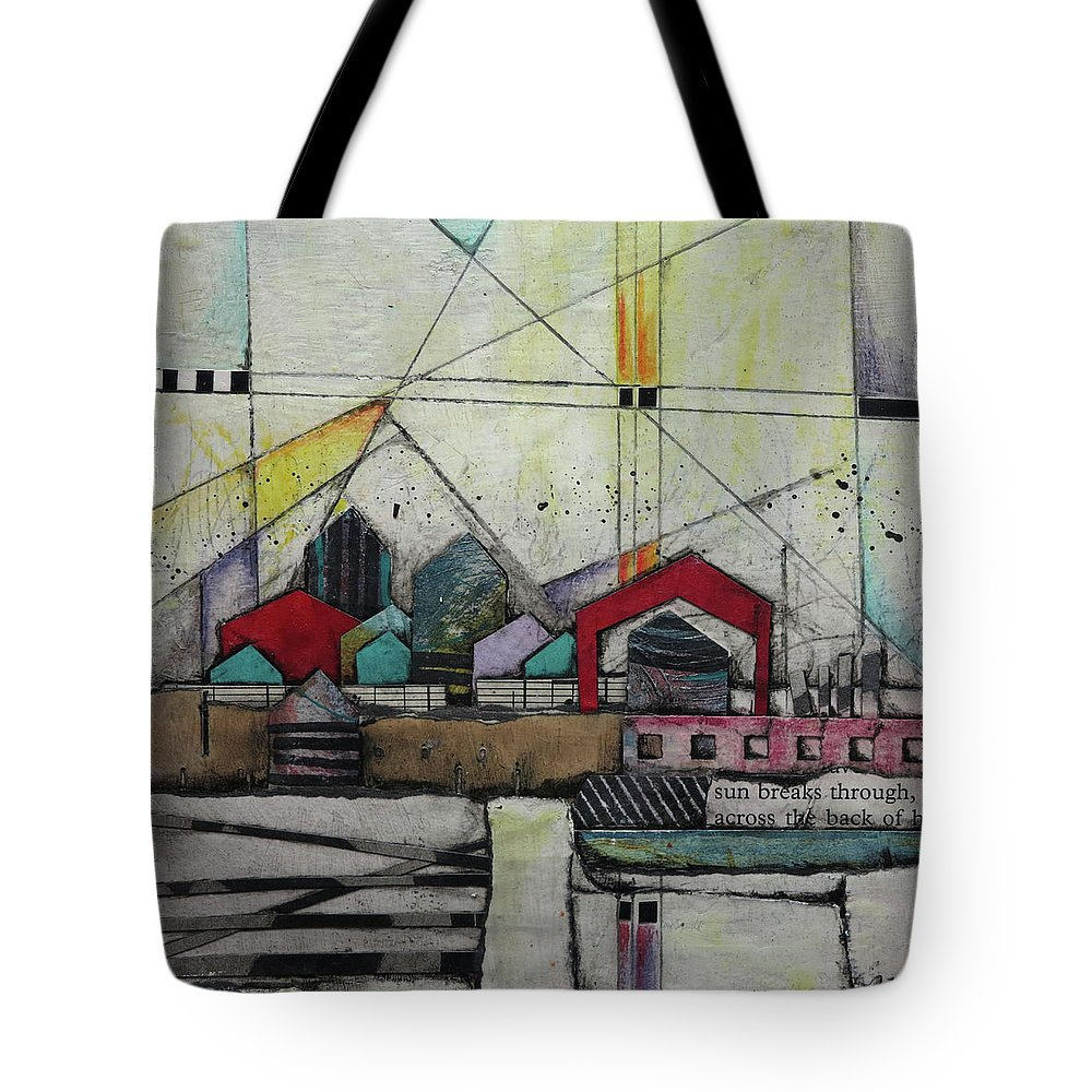 Collage Tote Bag featuring the mixed media Sun Breaks Through by Laura Lein-Svencner