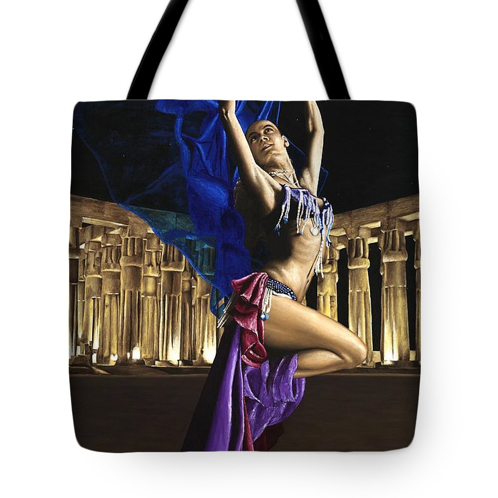 Belly Tote Bag featuring the painting Sun Court Dancer by Richard Young