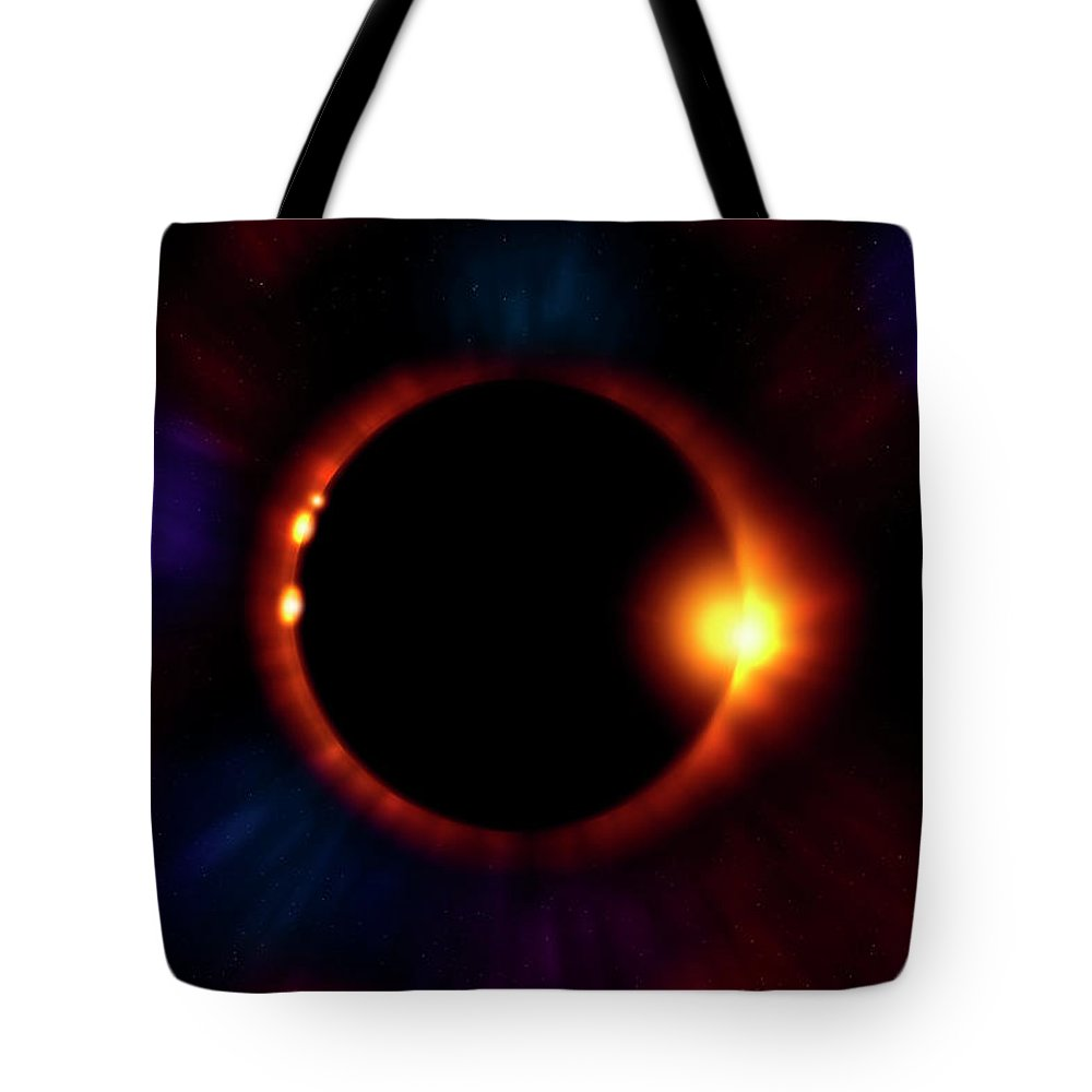 Eclipse Tote Bag featuring the photograph Sun Fire by Mark Andrew Thomas