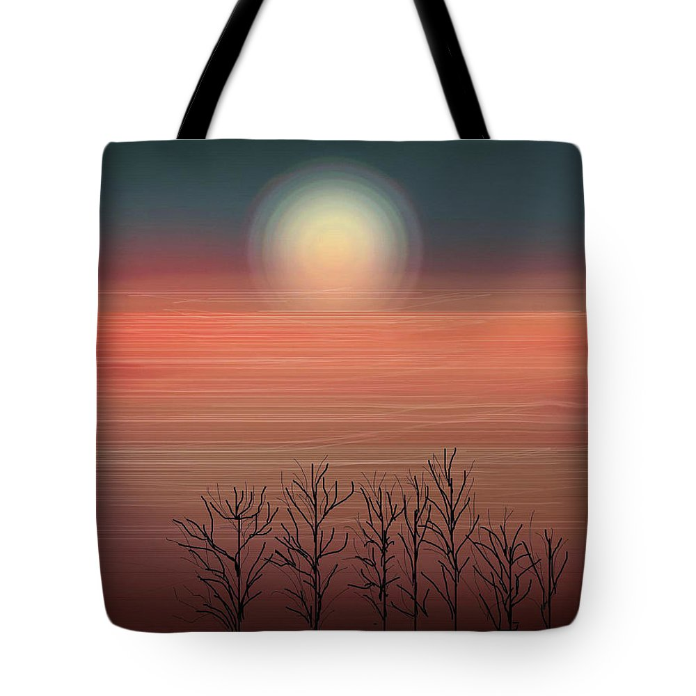 Sunset Tote Bag featuring the painting Sun Going To Bed by Anne Norskog
