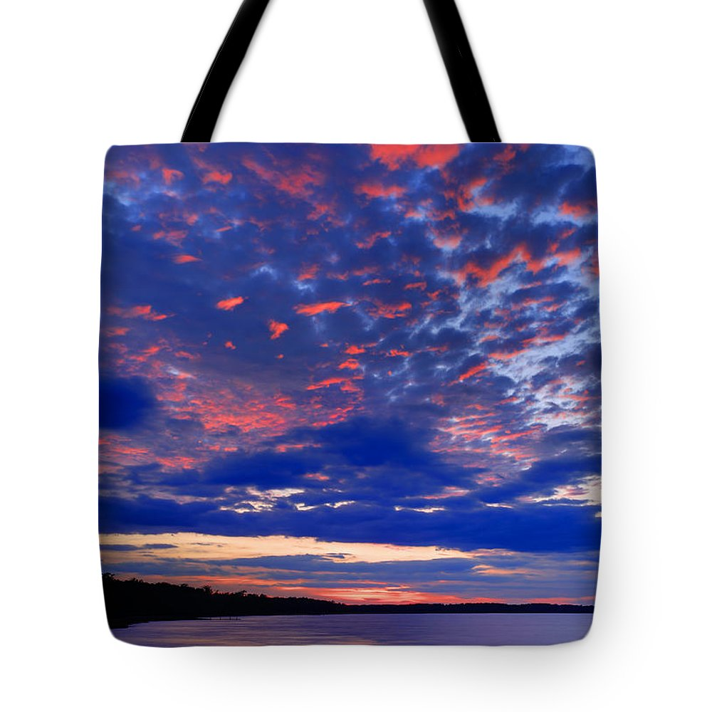 Blue Tote Bag featuring the photograph Sun Has Set by Phill Doherty