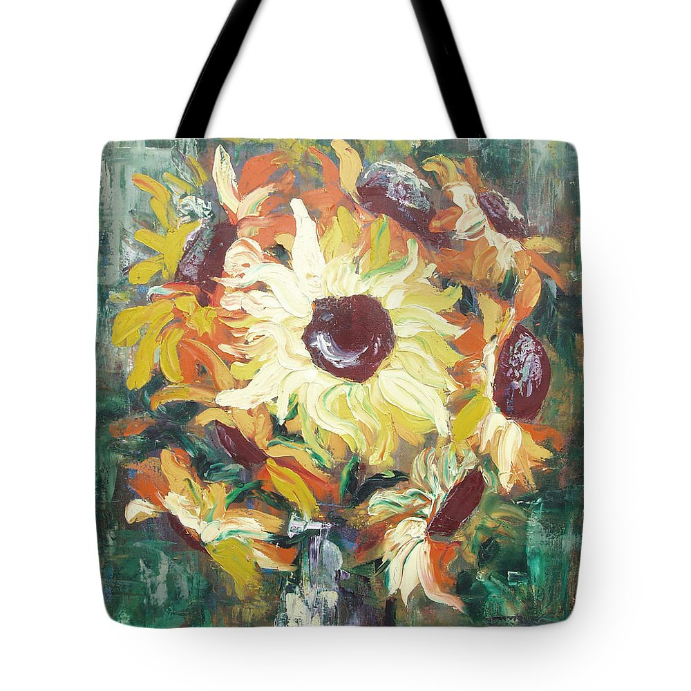 Sunflowers Tote Bag featuring the painting Sun In A Vase by Gina De Gorna