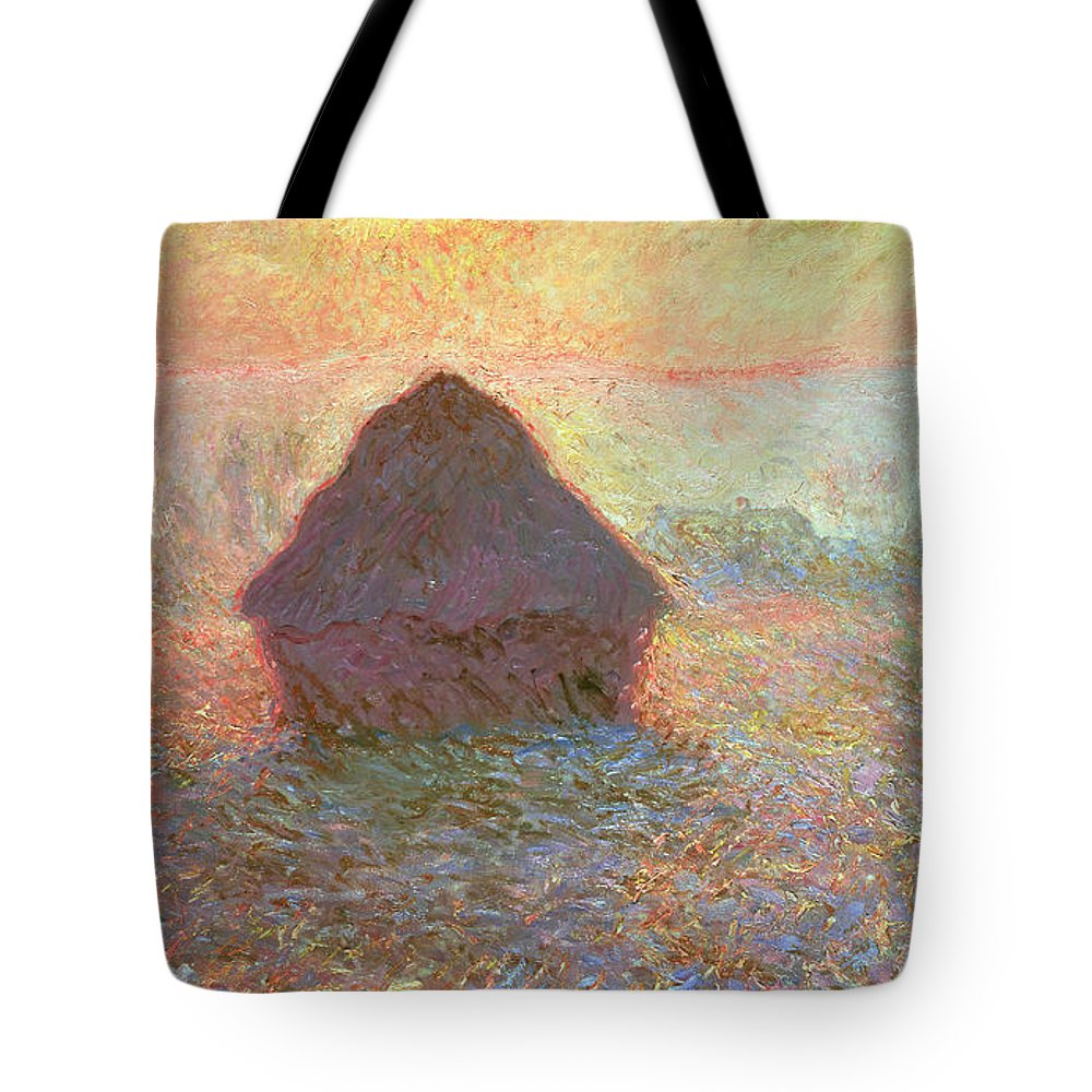 Grainstack Tote Bag featuring the painting Sun In The Mist by Claude Monet