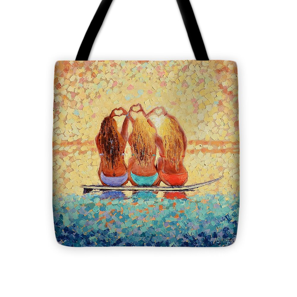Surfer Girl Tote Bag featuring the painting Sun-Kissed Surf Sisters by Lynee Sapere