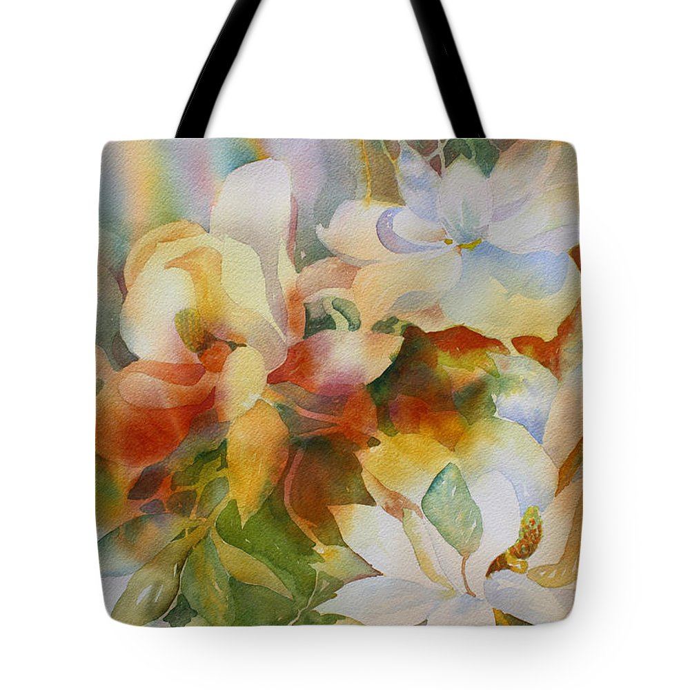 Magnolias Tote Bag featuring the painting Sun Kissed by Tara Moorman