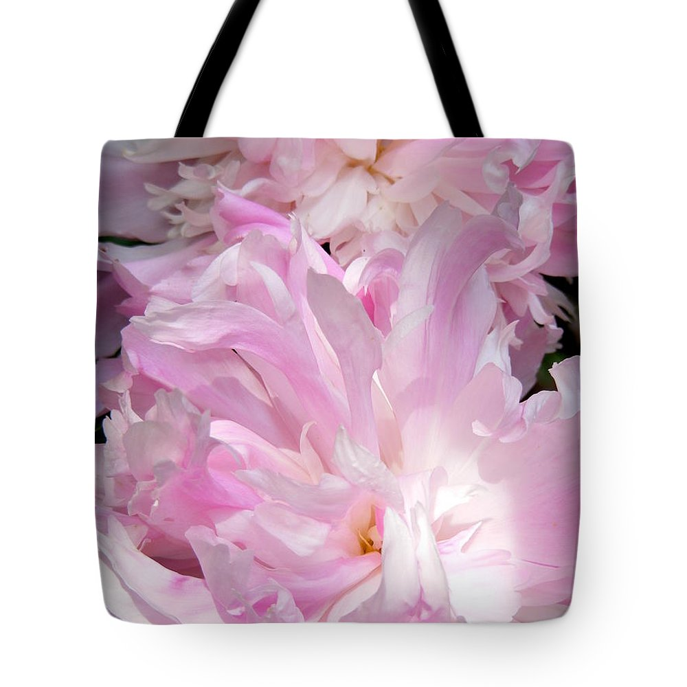 Sun Lit Peonies Tote Bag featuring the photograph Sun Lit Peonies by Ed Smith