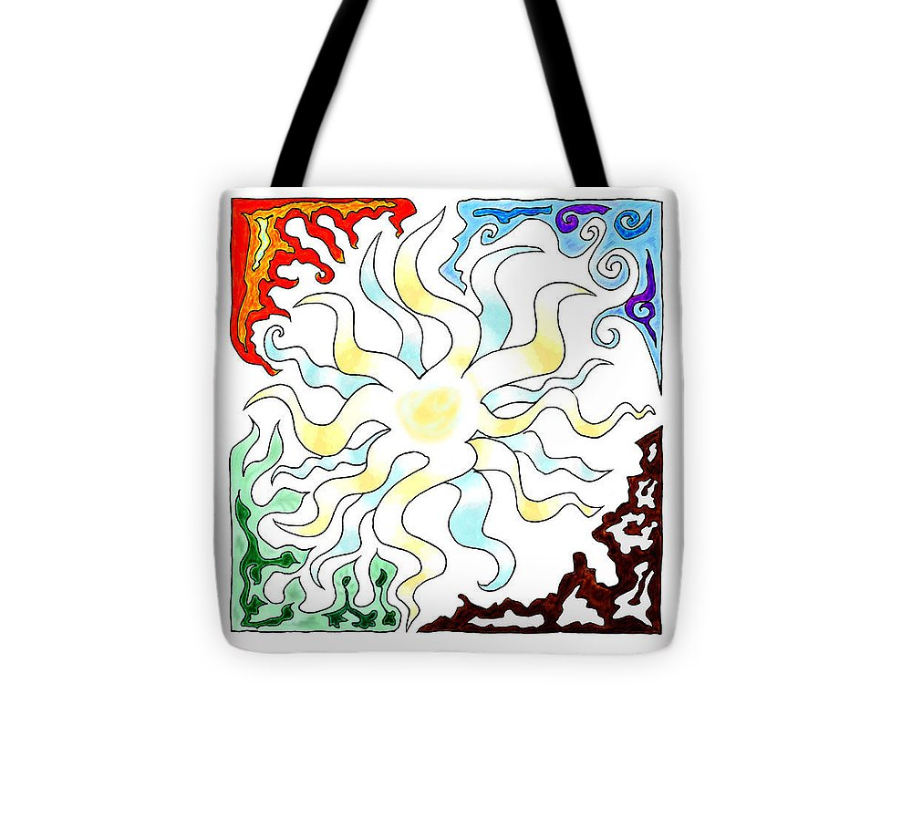 Sun Tote Bag featuring the digital art Sun Moon And Earth by Karolina Wegrzyn