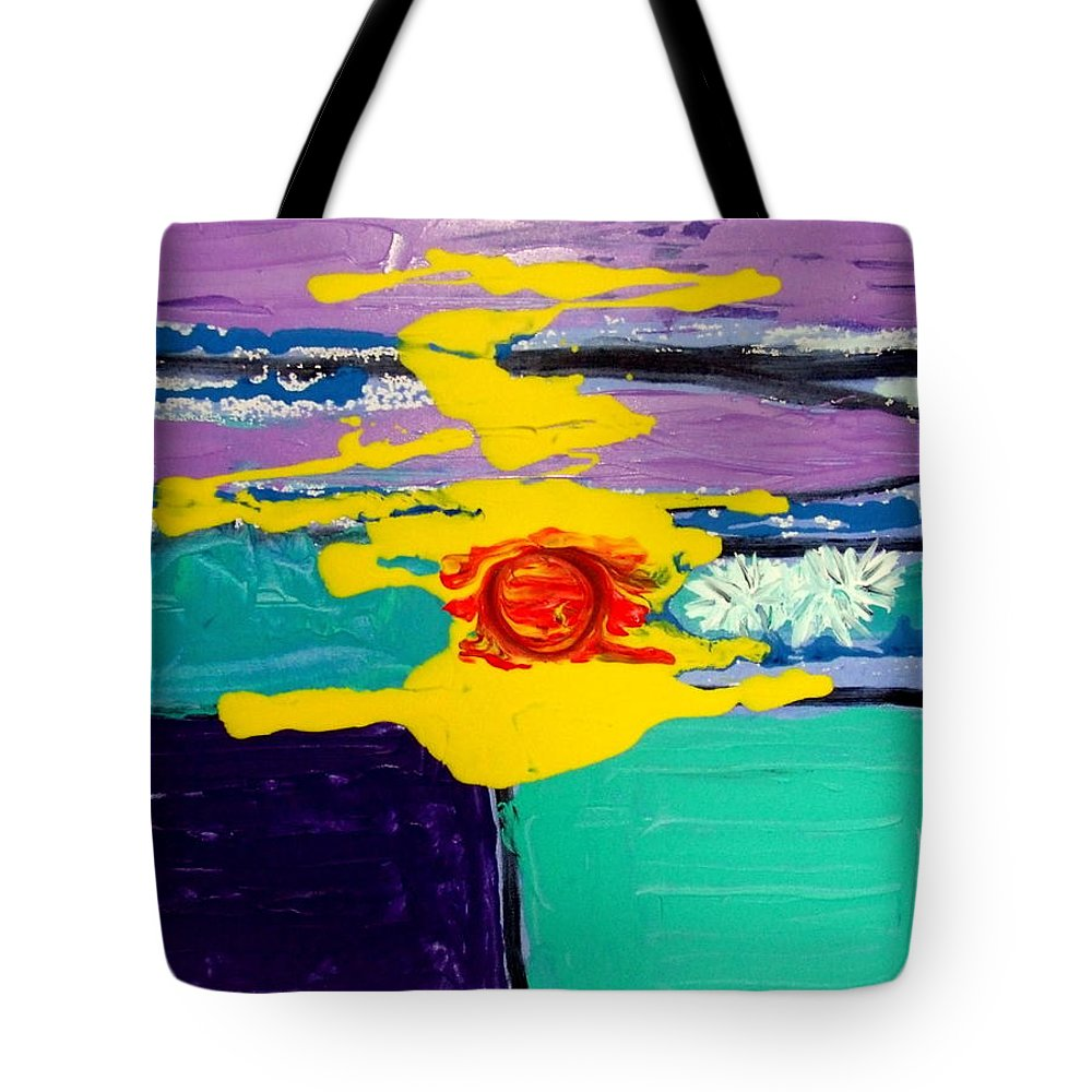 Abstract Expressionism Tote Bag featuring the painting Sun On Sea by Rusty Gladdish