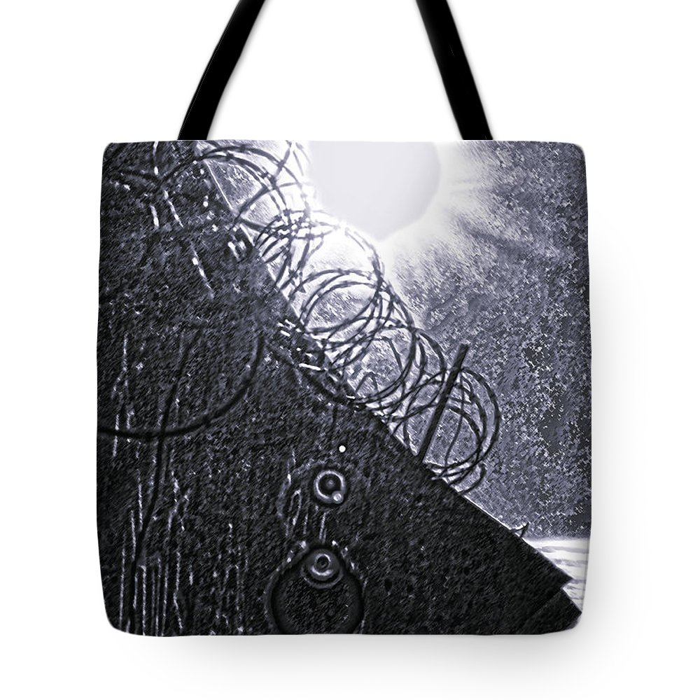 Philadelphia Tote Bag featuring the photograph Sun Over Barbed Wire by Bill Cannon